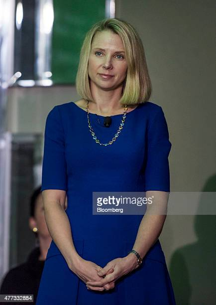 Marissa Mayer president and chief executive officer at Yahoo Inc waits to speak during the 2015 Bloomberg Technology Conference in San Francisco...