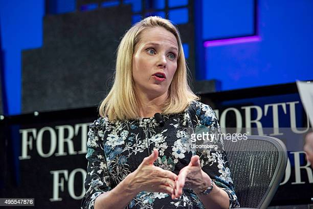 Marissa Mayer president and chief executive officer of Yahoo Inc speaks during the 2015 Fortune Global Forum in San Francisco California US on...
