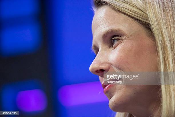 Marissa Mayer president and chief executive officer of Yahoo Inc listens during the 2015 Fortune Global Forum in San Francisco California US on...