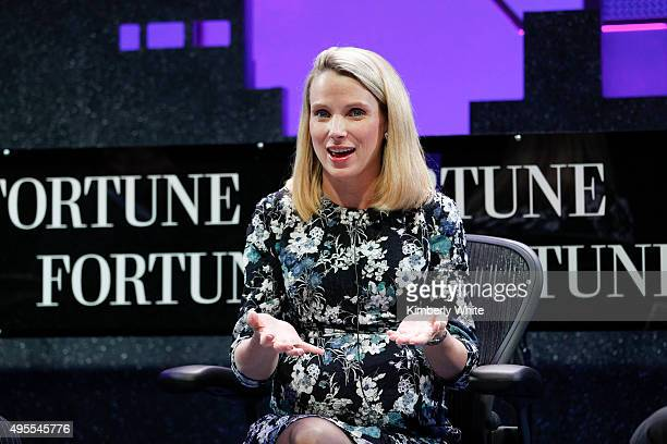 Marissa Mayer speaks during the Fortune Global Forum Day2 at the Fairmont Hotel on November 3 2015 in San Francisco California