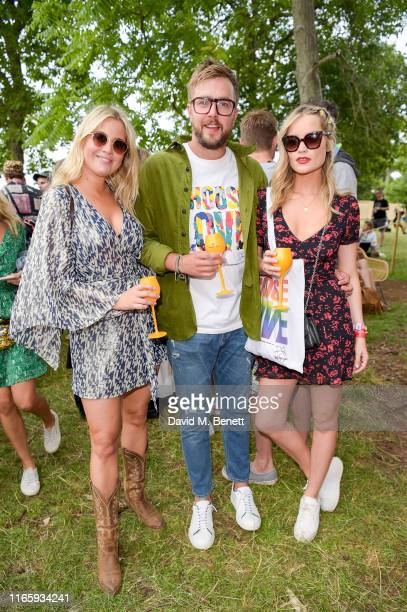 Marissa Montgomery Iain Stirling and Laura Whitmore in the Veuve Clicquot Champagne Garden at The Wilderness Festival on August 03 2019 in Oxford...