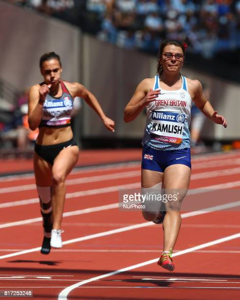 LR Marissa Papaconstant and Sophie Kamlish compete in Women's 100m T44 Heat 1and World Record during IPC World Para Athletics Championships at London...