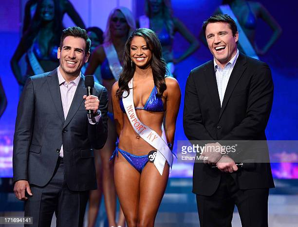 Marissa Raisor of Newport Kentucky answers a question during the interview portion of the 17th annual Hooters International Swimsuit Pageant as...