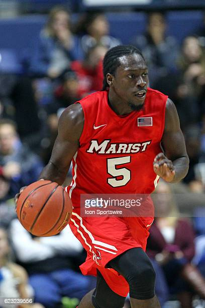 Marist Red Foxes guard Khallid Hart fast breaks during the second half of an NCAA basketball game between the Marist Red Foxes and Rhode Island Rams...