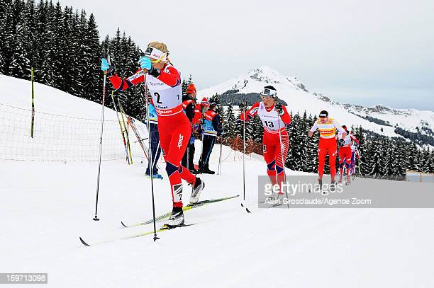 Marit Bjoergen and Therese Johaug of Norway takes 1st and 2nd place during the FIS CrossCountry World Cup Women's Mass Start on January 19 2013 in La...