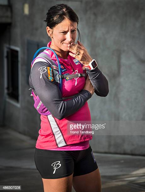 Marit Bjoergen of Norway before her training session with the Norwegian Ski Team Cross Country ladies on September 03 2015 in Livigno Italy