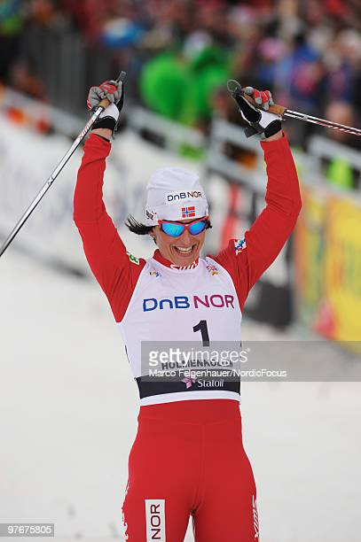 Marit Bjoergen of Norway celebrates her victory in the women's 30km Cross Country Skiing during the FIS World Cup on March 13 2010 in Oslo Norway