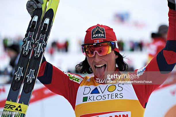 Marit Bjoergen of Norway celebrates victory after the Women's Individual Sprint event in the FIS Cross Country World Cup on December 12 2010 in Davos...