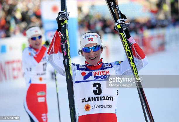 Marit Bjoergen of Norway celebrates victory in the Women's Cross Country Mass Start during the FIS Nordic World Ski Championships on March 4, 2017 in...