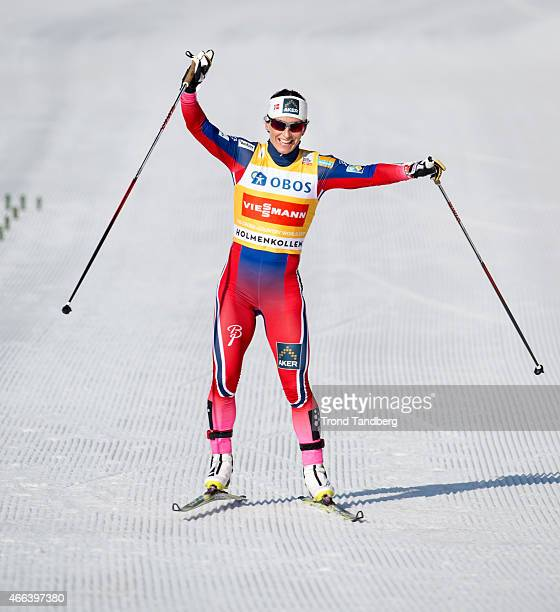 Marit Bjoergen of Norway celebrates winning the FIS World Cup Lady 30 km Mass Start Free on March 15 2015 in Holmenkollen Oslo Norway