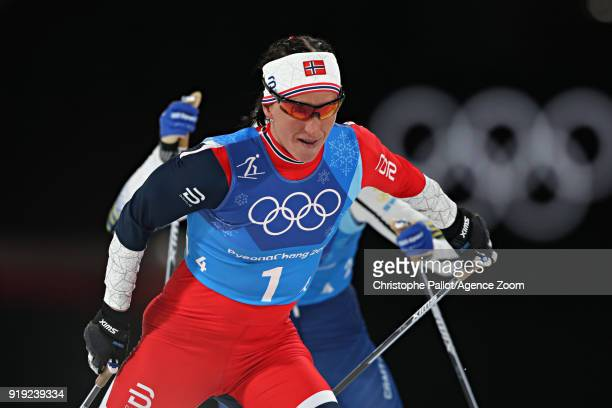 Marit Bjoergen of Norway competes during the CrossCountry Women's Relay at Alpensia CrossCountry Centre on February 17 2018 in Pyeongchanggun South...