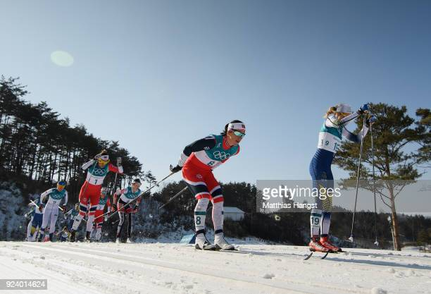 Marit Bjoergen of Norway competes during the Ladies' 30km Mass Start Classic on day sixteen of the PyeongChang 2018 Winter Olympic Games at Alpensia...