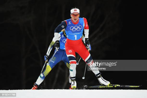 Marit Bjoergen of Norway competes during the Ladies' 4x5km Relay on day eight of the PyeongChang 2018 Winter Olympic Games at Alpensia CrossCountry...