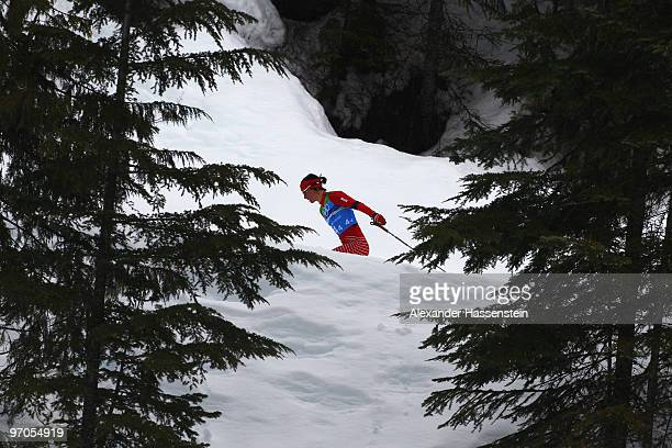 Marit Bjoergen of Norway competes during the Ladies' Cross Country 4x5 km Relay on day 14 of the 2010 Vancouver Winter Olympics at Whistler Olympic...