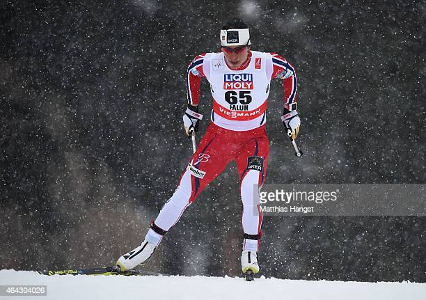 Marit Bjoergen of Norway competes during the Women's 10km CrossCountry during the FIS Nordic World Ski Championships at the Lugnet venue on February...