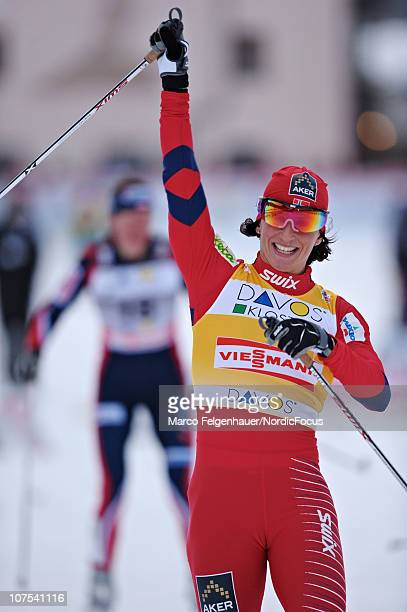 Marit Bjoergen of Norway competes during the Women's Individual Sprint event in the FIS Cross Country World Cup on December 12 2010 in Davos...