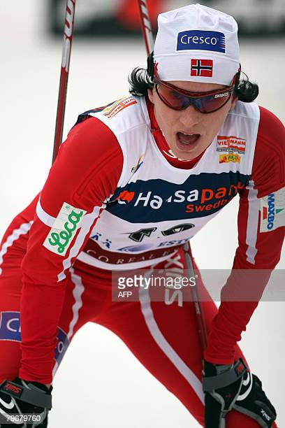 Marit Bjoergen of Norway competes in the nordic classicstyle 10 kms World Cup race on February 9 2008 in Otepaa Estonia Virpi Kuitunen of Finland won...