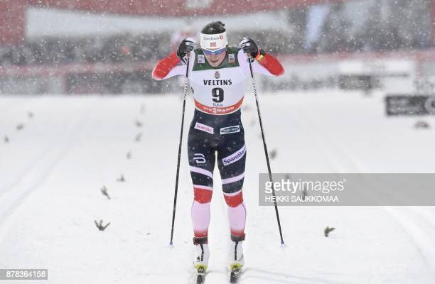 Marit Bjoergen of Norway competes in the quarterfinal of the women's Sprint Classic at the Ruka Nordic World Cup event in Ruka Kuusamo in Northern...