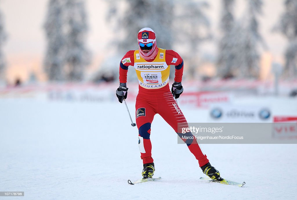 Marit Bjoergen of Norway competes in the women 10km free handicap start during the FIS World Cup Cross Country Skiing on November 28, 2010, in Kuusamo, Finland.