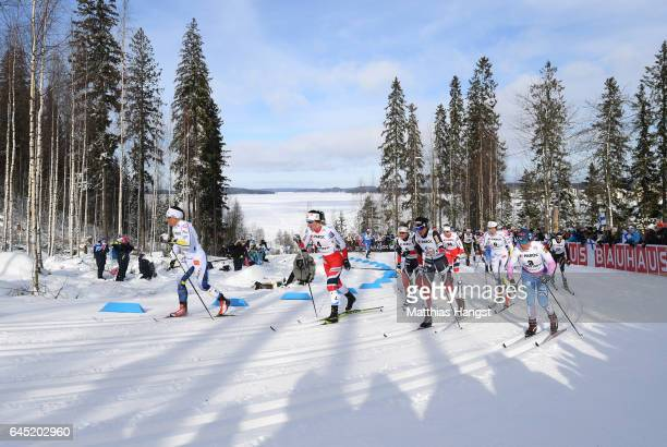 Marit Bjoergen of Norway competes in the Women's Cross Country Skiathlon during the FIS Nordic World Ski Championships on February 25, 2017 in Lahti,...