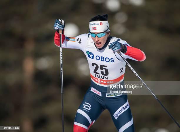 Marit Bjoergen of Norway during sprint ladies free at Lugnet Stadium on March 16 2018 in Falun Sweden