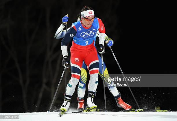 Marit Bjoergen of Norway during the Ladies' 4x5km Relay on day eight of the PyeongChang 2018 Winter Olympic Games at Alpensia CrossCountry Centre on...