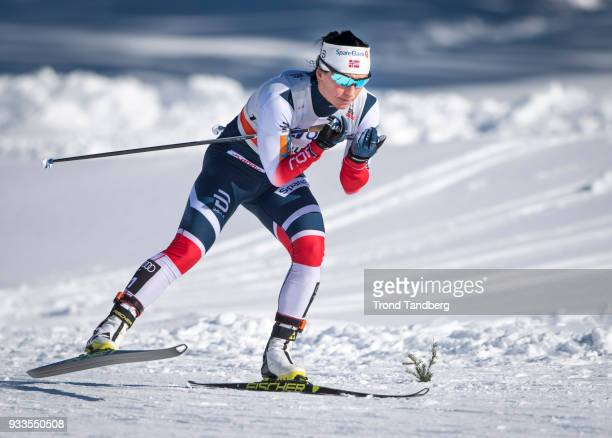 Marit Bjoergen of Norway in action during Ladies 10.0 km Pursuit Free at Lugnet Stadium on March 18, 2018 in Falun, Sweden.