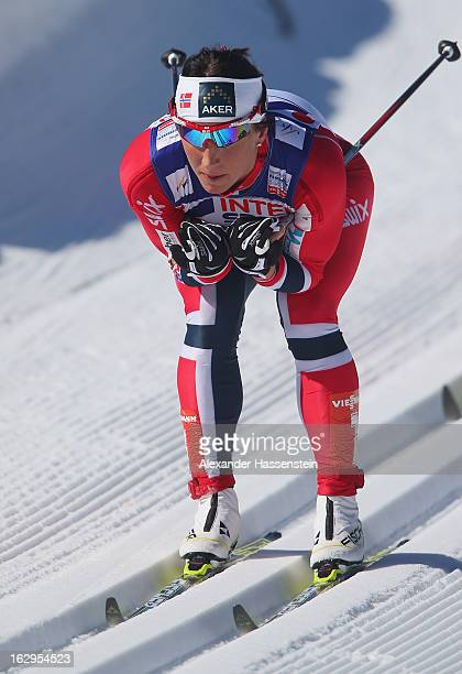 Marit Bjoergen of Norway in action on her way to victory during the Women's Cross Country Mass Start 30Km at the FIS Nordic World Ski Championships...