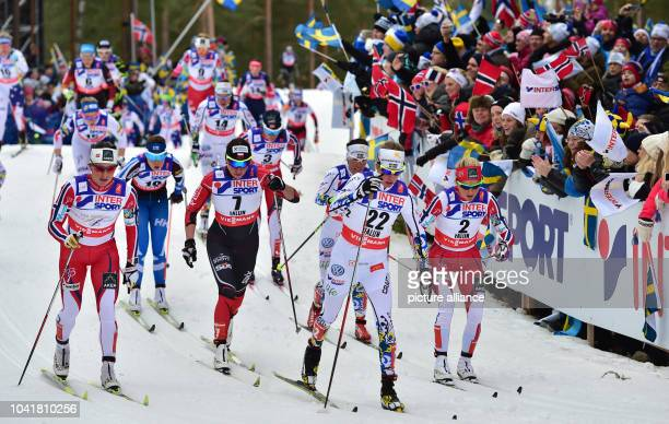 Marit Bjoergen of Norway Justyna Kowalczyk of Poland Sofia Bleckur of Sweden and Therese Johaug of Norway in action during the cross country women's...