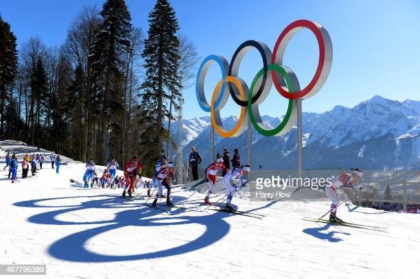 Marit Bjoergen of Norway leads Charlotte Kalla of Sweden, Heidi Weng of Norway and Therese Johaug of Norway as they compete in the Ladies' Skiathlon...
