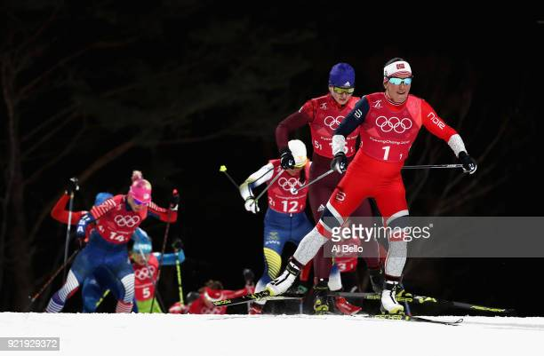 Marit Bjoergen of Norway leads the pack during the Cross Country Ladies' Team Sprint Free Final on day 12 of the PyeongChang 2018 Winter Olympic...