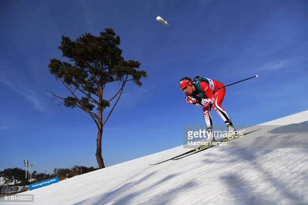 Marit Bjoergen of Norway skis during the CrossCountry Skiing Ladies' 10 km Free on day six of the PyeongChang 2018 Winter Olympic Games at Alpensia...