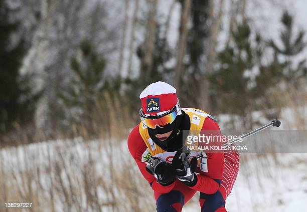 Marit Bjoergen of Norway skis during the FIS World Cup Crosscountry women's Skiathlon 75 km Classic 75 km freestyle competition in Rybinsk on...