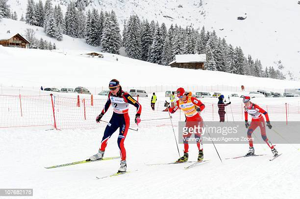 Marit Bjoergen of Norway skis on her way to 1st place Justyna Kowalczyk of Poland to 2nd place and Kristin Stoermer Steira of Norway takes 3rd place...