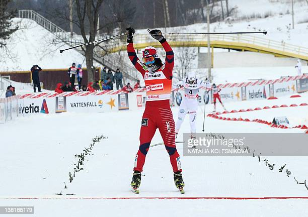 Marit Bjoergen of Norway skis to win the FIS World Cup Crosscountry women 10 km free mass start competition ski in Rybinsk on February 4 2012 Marit...