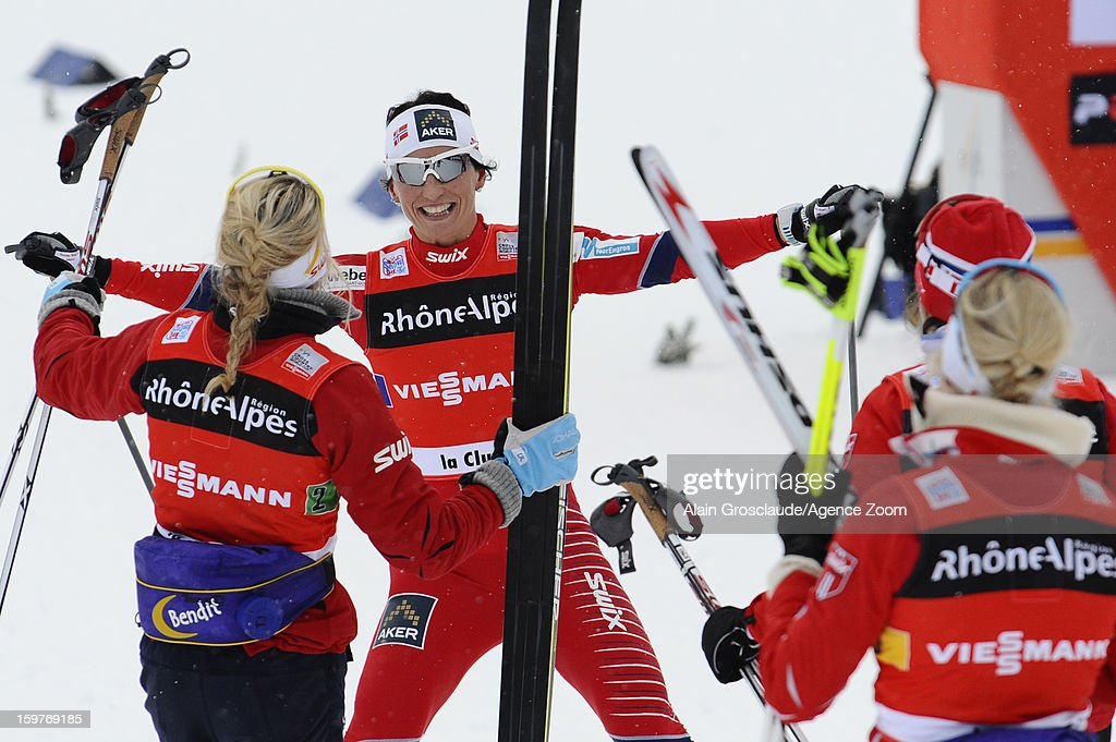 Marit Bjoergen of Norway takes 1st place during the FIS Cross-Country World Cup Women's Relay Start on January 20, 2013 in La Clusaz, France.