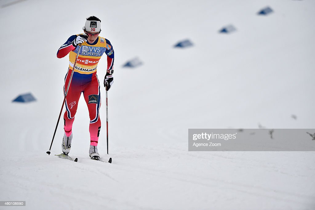 Marit Bjoergen of Norway takes 1st place during the FIS Cross-Country World Cup Men's 15 km and Women's 10km Pursuit on December 07, 2014 in Lillehammer, Norway.