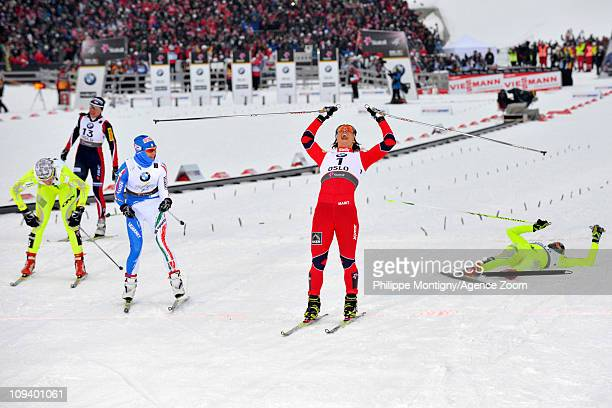 Marit Bjoergen of Norway takes 1st place during the FIS Nordic World Ski Championships Cross-Country Women's Sprint on February 24, 2011 in Oslo,...