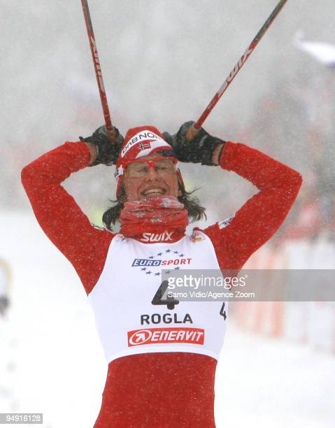 Marit Bjoergen of Norway takes 1st place during the Viessman CrossCountry FIS World Cup Women's 10 km Classic Sprint on December 19 2009 in Rogla...