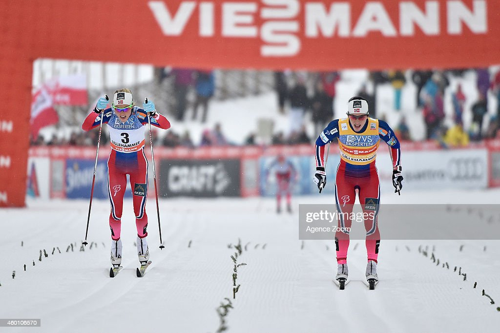 Marit Bjoergen of Norway takes 1st place, Therese Johaug of Norway takes 2nd place during the FIS Cross-Country World Cup Men's 15 km and Women's 10km Pursuit on December 07, 2014 in Lillehammer, Norway.