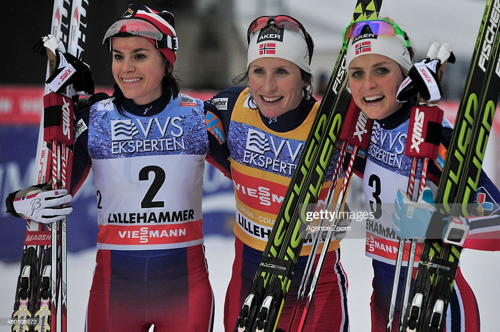 Marit Bjoergen of Norway takes 1st place, Therese Johaug of Norway takes 2nd place, Heidi Weng of Norway takes 3rd place during the FIS Cross-Country World Cup Men's 15 km and Women's 10km Pursuit on December 07, 2014 in Lillehammer, Norway.