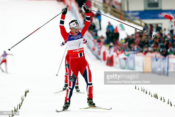 Marit Bjoergen of Norway takes the gold medal during the FIS Nordic World Ski Championships Women's Cross Country Skiathlon on February 23 2013 in...