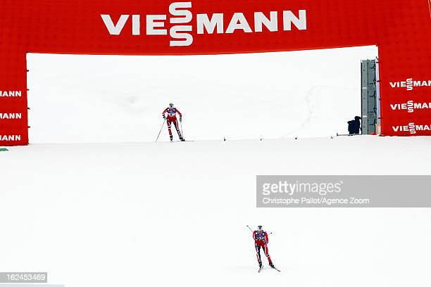 Marit Bjoergen of Norway takes the gold medal Therese Johaug of Norway takes the silver medal during the FIS Nordic World Ski Championships Women's...