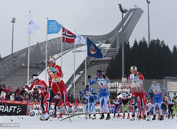 Marit Bjoergen of Norway Therese Johaug of Norway Astrid Urenholt Jacobsen of Norway Kerttu Niskanen of Finland Krista Lahteenmaki of Finland compete...