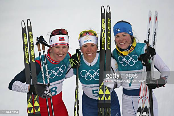 Marit Bjoergen of Norway wins the silver medal Charlotte Kalla of Sweden wins the gold medal Krista Parmakoski of Finland wins the bronze medal...