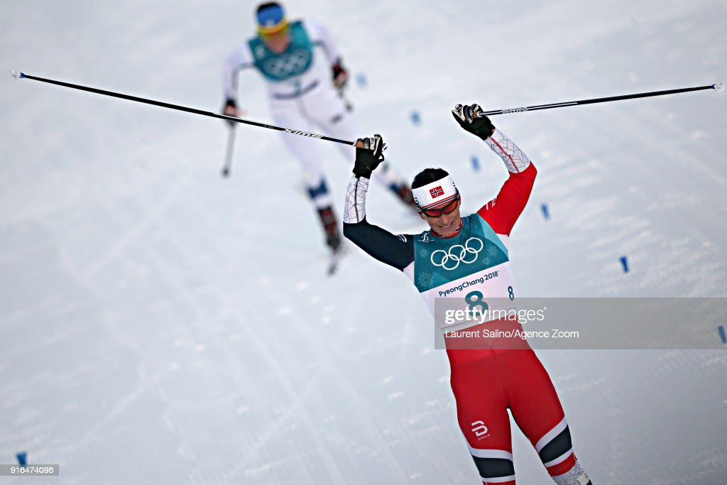 Marit Bjoergen of Norway wins the silver medal during the Cross-Country Women's Skiathlon at Alpensia Cross-Country Centre on February 10, 2018 in Pyeongchang-gun, South Korea.