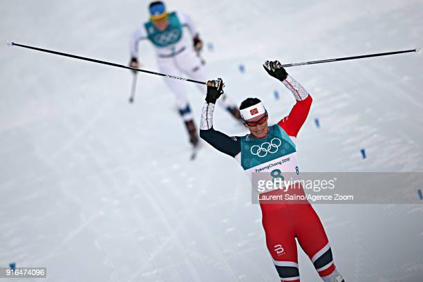 Marit Bjoergen of Norway wins the silver medal during the CrossCountry Women's Skiathlon at Alpensia CrossCountry Centre on February 10 2018 in...