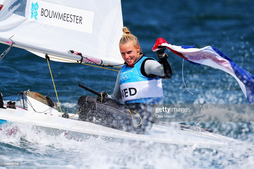 Marit Bouwmeester of Netherlands, girlfriend of Team GB sailor Ben Ainslie, celebrates after winning the silver medal in the Laser Radial Women's Sailing on Day 10 of the London 2012 Olympic Games at the Weymouth & Portland Venue at Weymouth Harbour on August 6, 2012 in Weymouth, England.