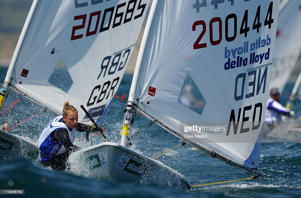 Marit Bouwmeester of the Netherlands in action during a Radial class race on day two of the Skandia Sail For Gold Regatta at the Wemouth and Portland National Sailing Academy on June 7, 2011 in Weymouth, England.