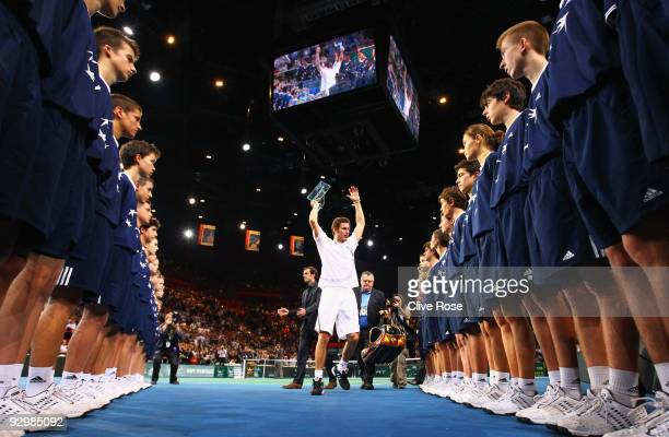 Marit Safin of Russia leaves the court with a gaurd of honour after loseing his match against Juan Martin Del Potro of Argentina during the ATP...